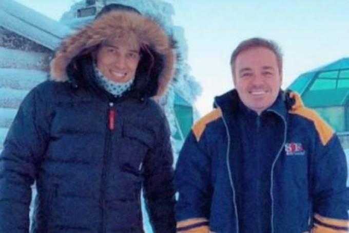 Thiago Salvatico e Gugu Liberato em uma de suas supostas viagens internacionais: fotos divulgadas pelo colunista do Uol, Leo Dias(Imagem: Divulgação-UOL)