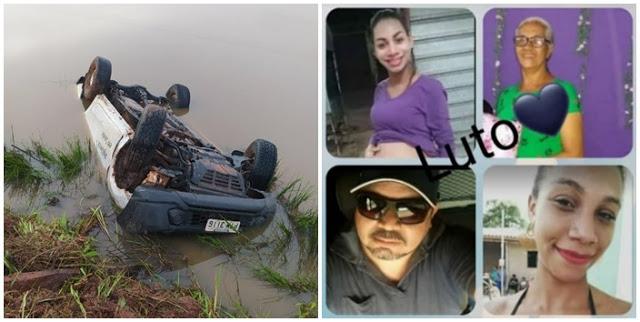 Mulher grávida e mais 4 pessoas morrem após carro cair em açude no Maranhão