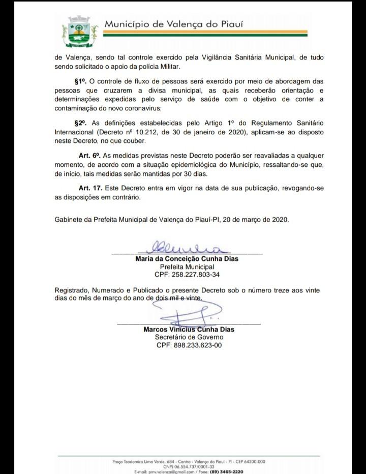 Prefeita Ceiça Dias decreta medidas excepcionais para o enfrentamento da crise de saúde pública