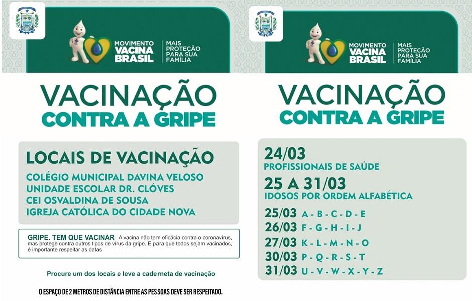 Secretaria municipal de saúde lança calendário de vacinação contra a gripe