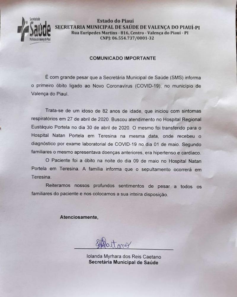Valença do Piauí tem 1ª morte por Covid-19; idoso de 82 anos