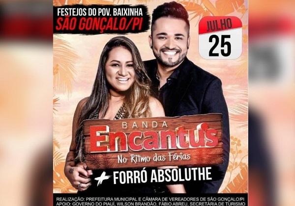 Prefeitura de São Gonçalo do PI anuncia Banda Encantus para o encerramento do festejo da comunidade Baixinha