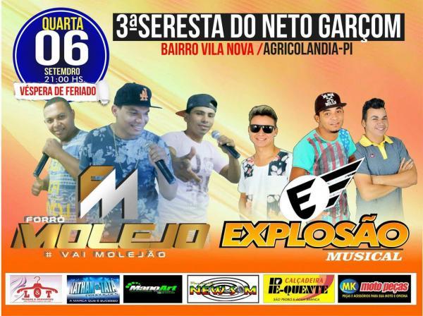 3ª Seresta do Neto Garçom será em dose dupla, com as bandas Explosão Musical e Forró Molejo