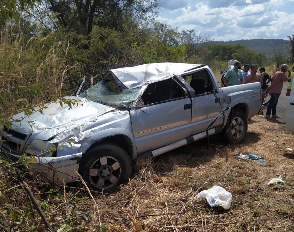 Caminhonete S10 envolvida no acidente (Imagem: Reprodução/Whatsapp)