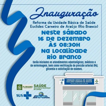 É amanhã, comunidade Rio Branco, em Floriano!