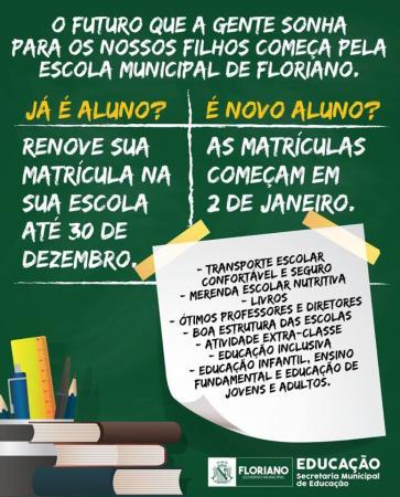 Em Floriano, matrículas para alunos novatos começam em dois de janeiro