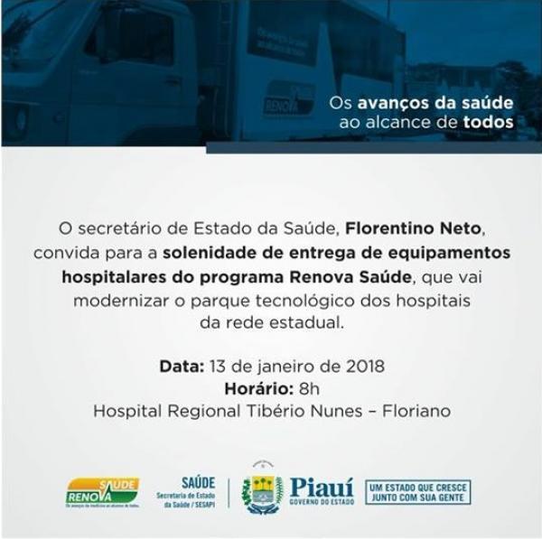 Floriano recebe R$1,5 milhão em equipamentos hospitalares neste sábado (13)
