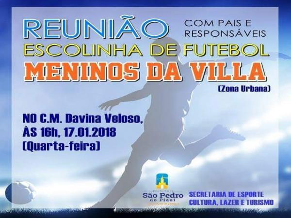 Secretaria de Esportes de São Pedro do Piauí realizará reunião com responsáveis por alunos matriculados na escolinha de futebol