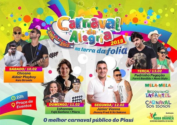 Prefeitura de Água Branca define programação do Carnaval 2018; veja