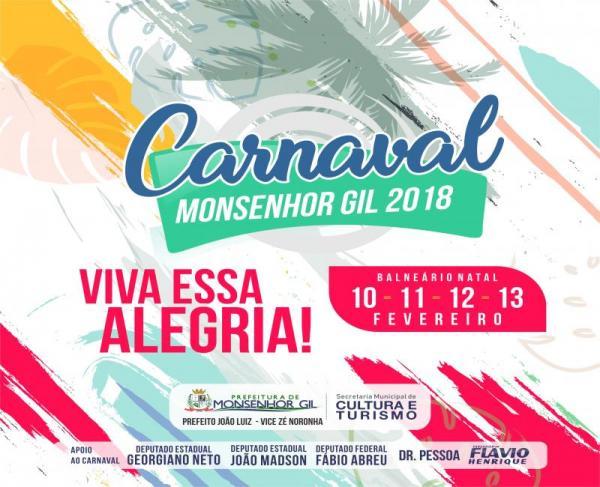 Prefeitura de Monsenhor Gil divulga atrações do carnaval da cidade