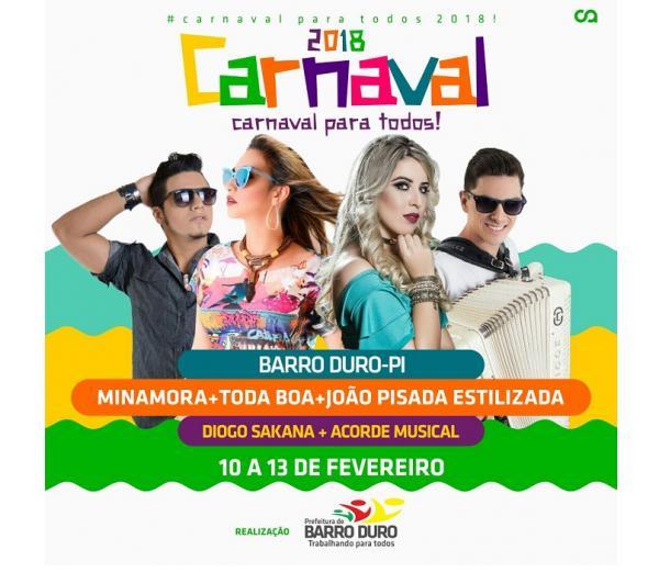 Prefeitura de Barro Duro divulga programação do Carnaval 2018; quatro dias de festa