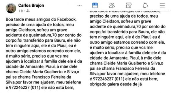 Internauta publica em rede social grave acidente com amarantino em SP