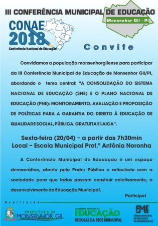 Prefeitura convida a população para a III Conferência Municipal de Educação