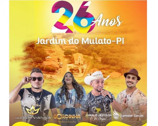 Aniversário de Jardim do Mulato terá corte do bolo, inauguração e show em praça pública; veja programação