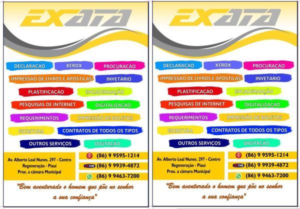 Em Regeneração, Declaração de Imposto de Renda, xerox, digitação e serviços de internet, procure a EXATA