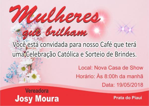 Prata do Piauí | Vereadora Josy Moura convida todas as mães para um café da manhã
