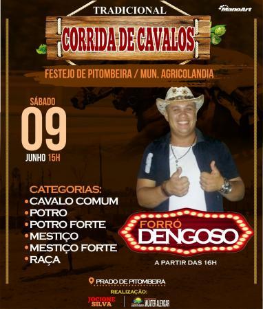 Dudu Play e Forró Dengoso 09 de Junho na Tradicional Corrida de Cavalos de Pitombeira