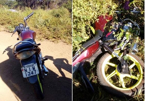 Motocicleta furtada em Água Branca é encontrada abandonada na zona rural de Agricolândia