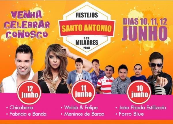 Festejo de Santo Antônio dos Milagres terá Chicabana, Waldo e Felipe, Meninos de Barão e muito mais em praça pública; veja programação