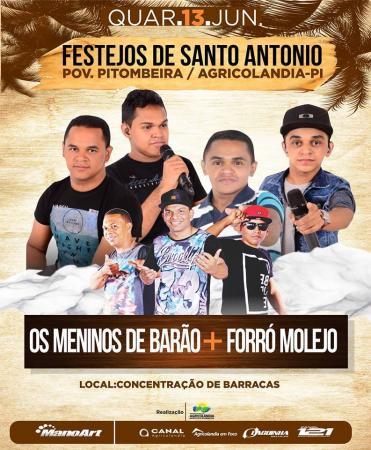 Dia 13 tem Meninos de Barão e Forró Molejo em Pitombeira