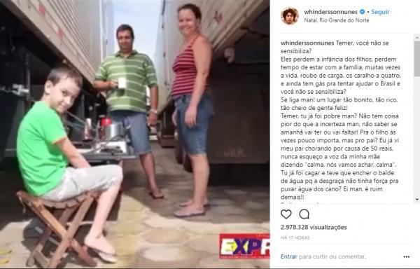 Whindersson Nunes critica Temer e faz promessa a caminhoneiro