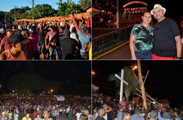Hasteamento do mastro reúne milhares de pessoas e marca abertura do festejo em Santo Antônio dos Milagres; imagens