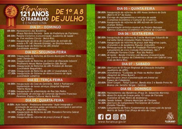 Prefeitura divulga programação de aniversário dos 121 anos de Floriano