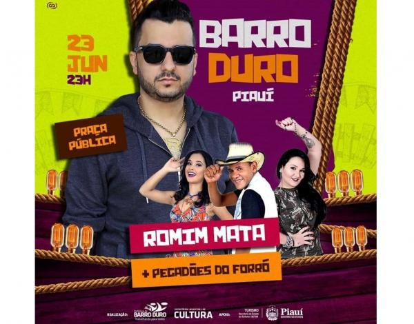 Romim Mata e Pegadões do Forró farão grande show em Barro Duro neste sábado (23)