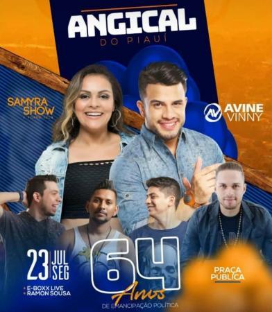 Aniversário de Angical do PI será comemorado com Avine Vinny, Samira Show e grande programação em praça pública