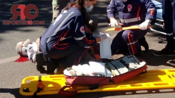 Idoso fica com fratura exposta após acidente de trânsito em Piripiri