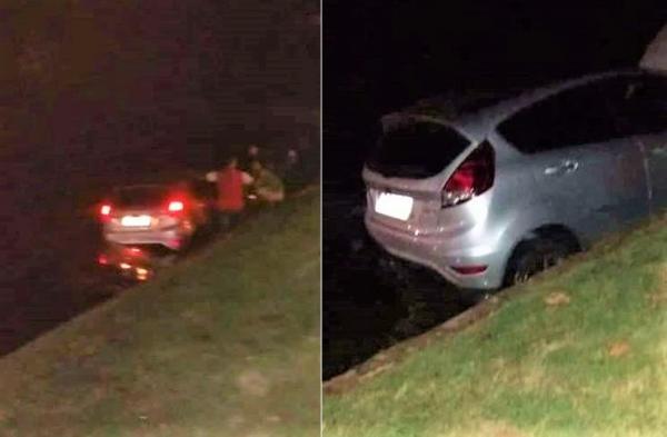 Amigo sai em carro sem autorização do proprietário e cai dentro do açude de Água Branca