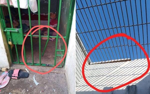 Os detentos fugiram da delegacia após serrarem a grade da cela (Imagem: Divulgação Whatsapp)