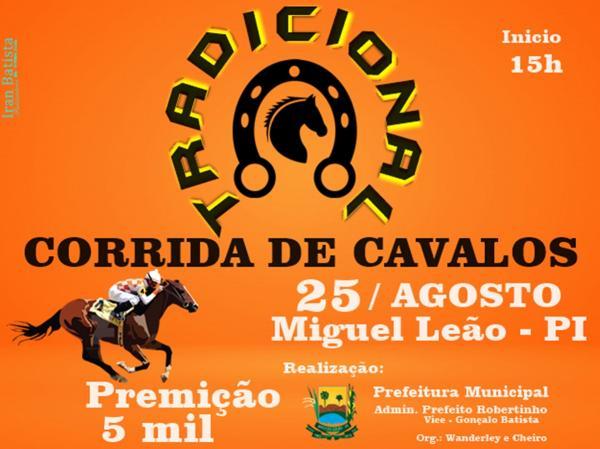 Tradicional corrida de cavalos tem uma premiação de 5 mil reais em Miguel Leão