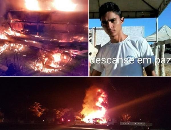 Motorista morre após caminhão-tanque explodir em acidente na BR-316, próximo a Lagoa do Piauí