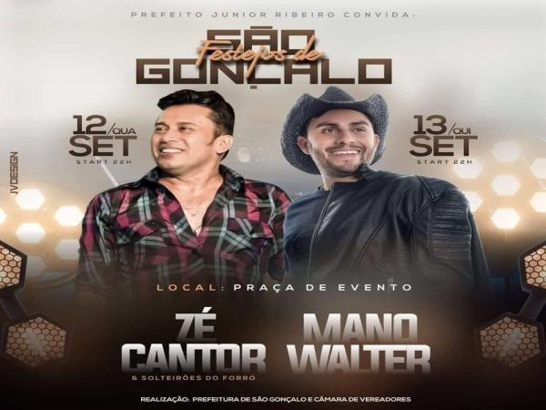 Zé Cantor e Mano Walter são confirmados para o festejo de São Gonçalo do Piauí em setembro