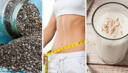 Vitamina saciante de pera, chia e aveia para perder peso
