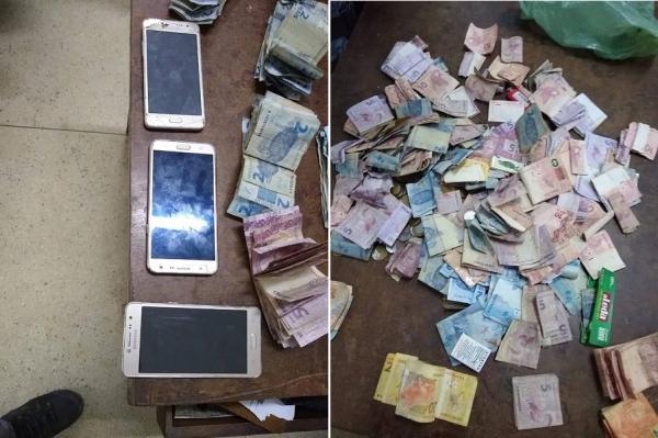 Celulares e dinheiro apreendidos (Imagem: Divulgação PM)