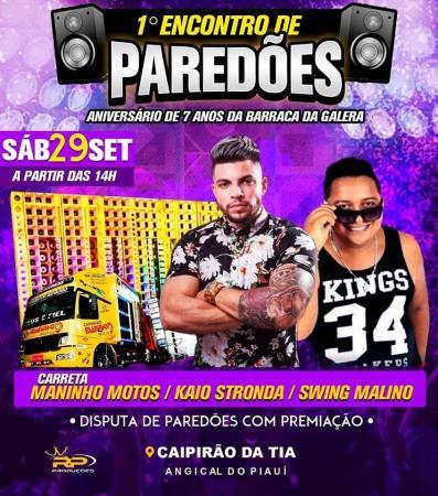 1º encontro de Paredões do Médio Parnaíba acontecerá nesse sábado, dia 29 de setembro, em Angical do Piauí