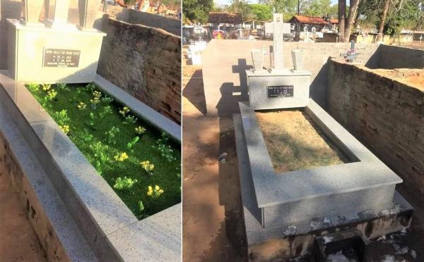 Criminosos furtam arranjos de túmulo em cemitério de São Gonçalo do Piauí