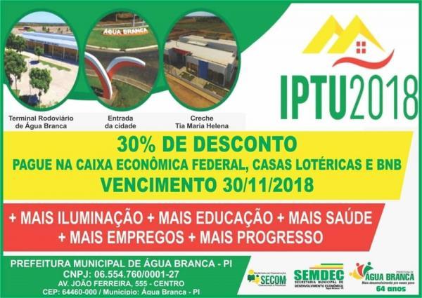 Água Branca | Prefeitura lançará campanha IPTU premiado 2018