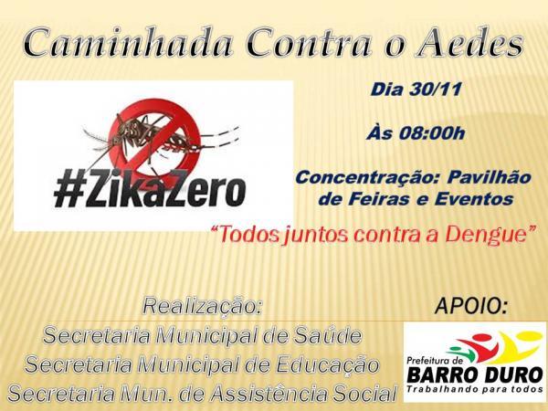 Prefeitura realizará caminhada de prevenção ao Aedes Aegypti em Barro Duro