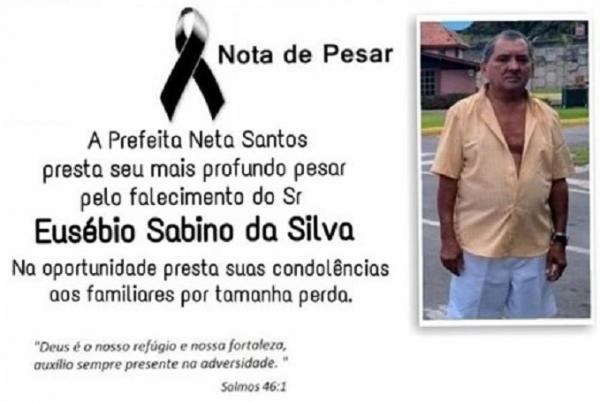 Prefeita Neta Santos emite nota de pesar pela morte do angicalense Eusébio Sabino da Silva