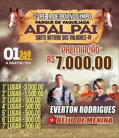 2ª pega de Boi do parque de Vaquejada ADAL.PAI em Santo Antônio dos Milagres acontecerá no dia 1º de dezembro