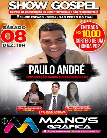 Show Gospel, 08 de dezembro no clube Espaço Jovem em São Pedro do Piauí