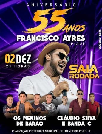 Show com Saia Rodada marcará encerramento da Semana Cultural e aniversário de Francisco Ayres