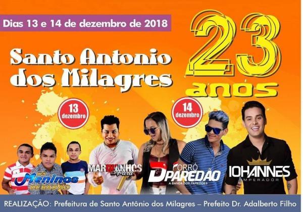 Santo Antônio dos Milagres comemorará aniversário de 23 anos com dois dias de festa; veja