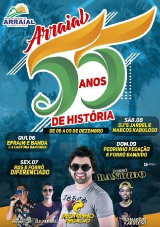 Aniversário de 55 anos de Arraial será comemorado com grande show com Pedrinho Pegação e Forró Bandido