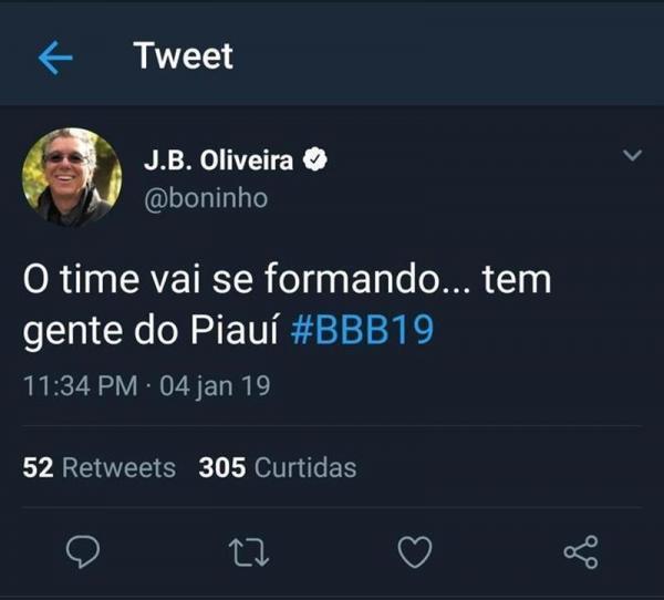Boninho anuncia que piauiense participará de Big Brother Brasil