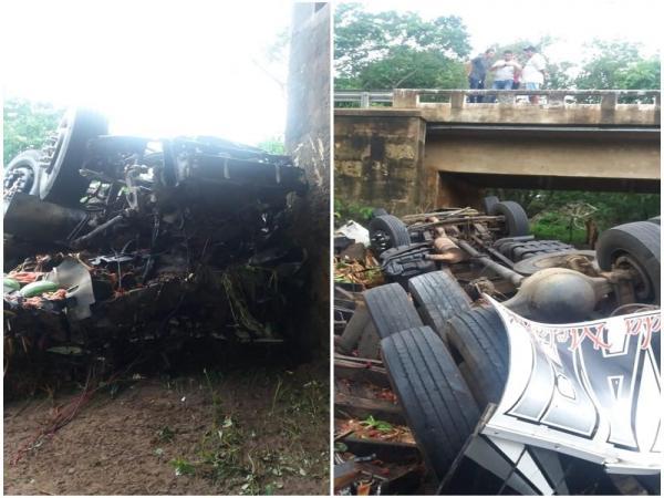 Caminhão capota e deixa um morto na BR 316
