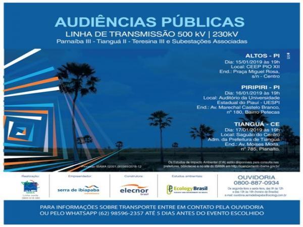 Audiências pública sobre estudo de impacto ambiental de linha de transmissão